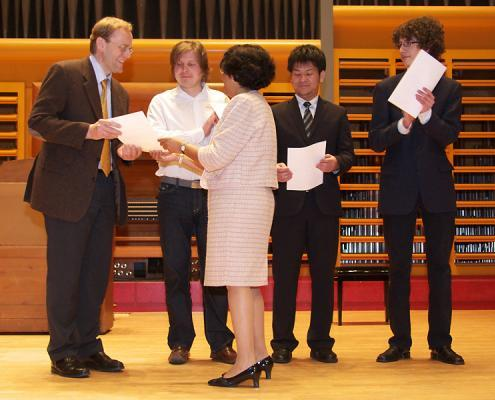 The winners of the 3rd International Composition Competition, V.L. to r .: Martin Kapeller, Valery Voronov, Shingo Matsuura, Maximilian Guth